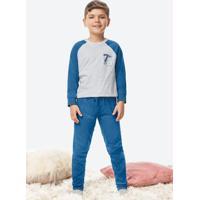 Pijama Cinza Claro Infantil Manga Raglan