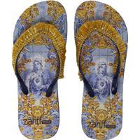 Chinelo Zariff Shoes Estampa Franjas Azul