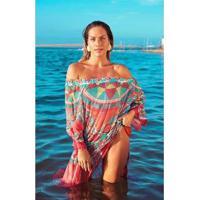 Kaftan New Beach Chiffon Ombro A Ombro Miraflores Rosa