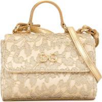 Dolce & Gabbana Kids Bolsa Tiracolo Com Renda E Aplicação De Cristais - Dourado