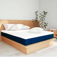 Colchão King Firme Com 2 Travesseiros Guldi Soft Azul E Branco