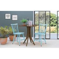 Mesa Com 2 Cadeiras Quadrada Juliette - Nogueira E Azul Bebê