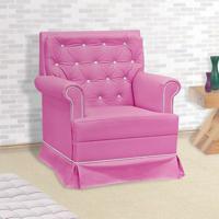 Poltrona Amamentação Giulia Com Balanço S/ Puff Rosa E Branco - Confortável