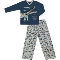 Pijama Longo Masculino Malha Pliossauro - Masculino-Azul Petróleo