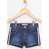 Short Infantil Com Listra Lateral Em Jeans - Tam 1 A 4