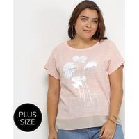 Blusa City Lady Flores Megnifique Plus Size Feminina - Feminino-Rosa