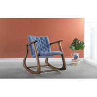 Poltrona Para Quarto De Balanço Smith 65X83X72Cm - Verniz Capuccino \ Tec.930 - Azul Claro