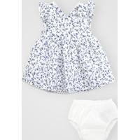 Vestido Gap Infantil Floral Com Tapa Fralda Branco/Azul