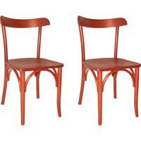 Conjunto Com 2 Cadeiras De Cozinha Laura Vermelho