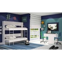 Quarto Juvenil Completo Com Beliche E Escrivaninha Branco/Azul - Caaza