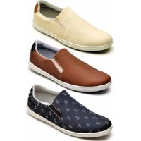 Kit 3 Pares Tênis Mac Point Casual Masculino - Masculino-Marrom+Azul