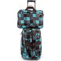 Jogo Malas Giulianna Fiori Travel Set Ivy Com Rodas + Capa Para Notebook E Celular Em Patchwork Original