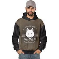 Casaco De Moletom Gray Wolf O Grande Lobo Di Nuevo Masculino - Masculino-Preto