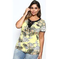 Blusa Floral Com Amarraã§Ã£O- Amarela & Preta- Mirasulmirasul