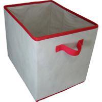 Caixa Organizadora Com Alça 28X31X38Cm Organibox Bege/Vermelho