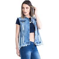 Colete Carlan Jeans Feminino Destroyed - Feminino-Azul Escuro