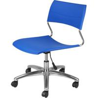 Cadeira Nina Assento Azul Base Arcada Em Aluminio - 54774 - Sun House
