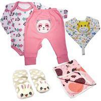 Kit 5 Peças Enxoval Estampado Roupa Para Bebê Menina Menino Rosa