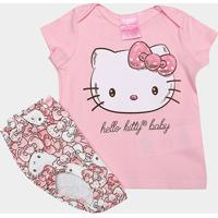 Conjunto Infantil Up Baby Suedine Hello Kitty Feminino - Feminino-Rosa