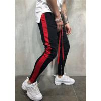 Calça Masculina Striped Slim Duas Cores - Preto E Vermelho