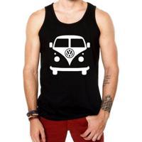Camiseta Regata Criativa Urbana Kombi Carro Antigo Clássico - Masculino-Preto
