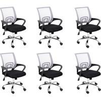 Conjunto Com 6 Cadeiras De Escritório Secretária Giratórias Java Preto E Cinza