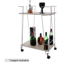 Carrinho De Bebida De 2 Andares- Bege & Prateado- 81Metaltru