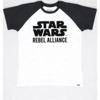 Camiseta Juvenil Star Wars Raglan Manga Curta Off White