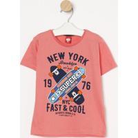 "Camiseta Skates ""New York""- Coral & Azul Marinho- Gugueda Kids"