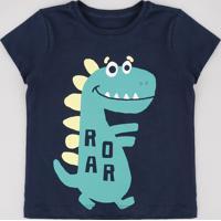 "Camiseta Infantil Dinossauro ""Roar"" Manga Curta Azul Marinho"