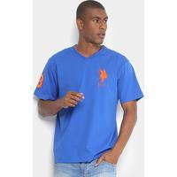 Camiseta U.S. Polo Assn Bordado Gola V Masculina - Masculino-Azul Royal