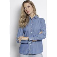 Camisa Jeans Com Bordado - Azul Claro - Dudalinadudalina
