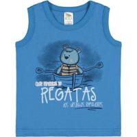 Camiseta Regata Infantil Pulla Bulla Meia Malha Masculino - Masculino-Azul
