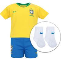 928951aba9 Kit Bebê Uniforme De Futebol Da Seleção Brasileira I 2018 Nike  Camisa +  Calção +