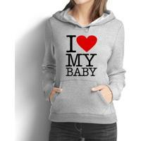 Moletom Criativa Urbana Gestante Mamãe Love Baby - Masculino-Cinza