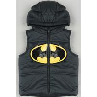 Colete Puffer Infantil Batman Com Capuz E Orelhas Preto