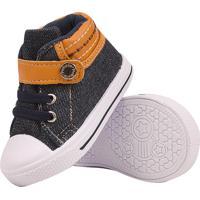 Tênis Bebê Mania Cano Alto Velcro Elastico Jeans