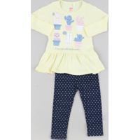 Conjunto Infantil De Blusa Com Babado Manga Longa Amarela Claro + Calça Legging Estampada De Poá Azul Marinho