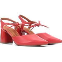 Scarpin Ramarim Chanel Salto Tubo Amarração - Feminino-Vermelho
