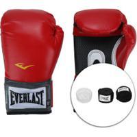 Kit De Boxe Everlast: Bandagem + Protetor Bucal + Luvas De Boxe Training - 12 Oz - Adulto - Vermelho