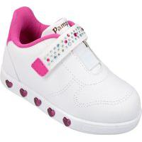 Tenis Pampili Infantil Luz Led Menina Sneaker Branco