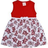 Vestido Infantil Para Bebê Menina - Vermelho