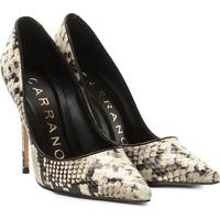 Scarpin Couro Carrano Salto Alto Fino Animal Print Estampa Snake - Feminino-Off White