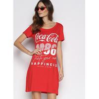 Vestido Coca-Cola Curto Reto 1986 - Feminino-Vermelho Escuro