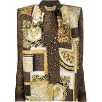 Versace Blusa Com Estampa E Laço Na Gola - Dourado