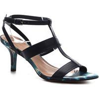 Sandália Couro Shoestock Salto Médio Tie Dye Feminina - Feminino-Marinho