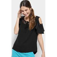 Blusa Open Shoulder Top Moda Com Renda Feminina - Feminino-Preto