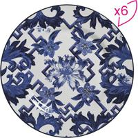 Conjunto De Pratos Rasos Flat Arabescos- Branco & Azul Escalla Cerâmica