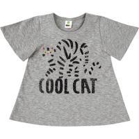 """Blusa """"Cool Cat"""" - Cinza & Pretapuc"""