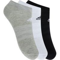 Kit De Meias Adidas Ligth Low Com 3 Pares - 39 A 42 - Masculino - Preto/Cinza/Branco